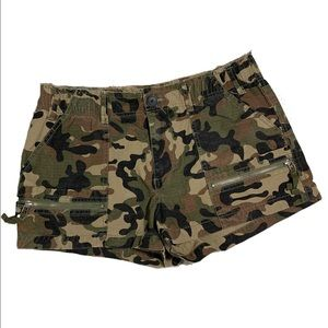 Cotton On Green Camo Zip High Waisted Shorts